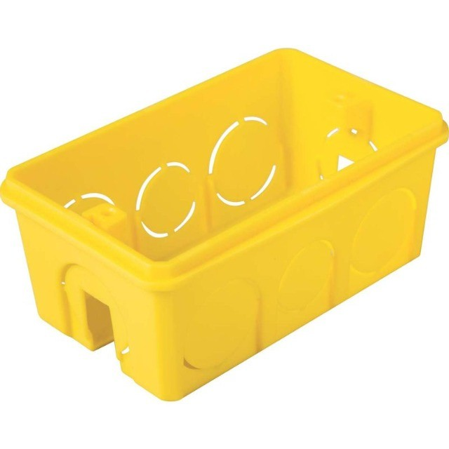 Caixa de Embutir 4x2 Retangular Amarela - Tramontina