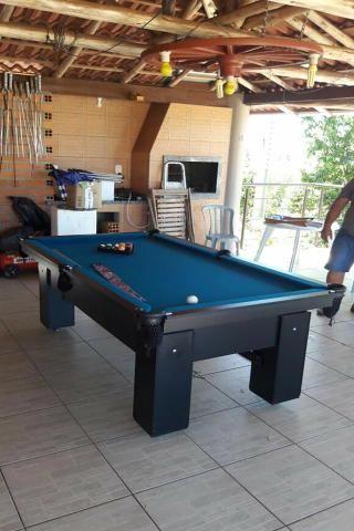 Mesa Residencial Cor Preta Tecido Azul Mod. BHOZ9962 - Foto 3