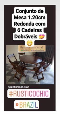 Mesa Redonda 1.20 com 6 Cadeiras Dobráveis Rústika Madeiras