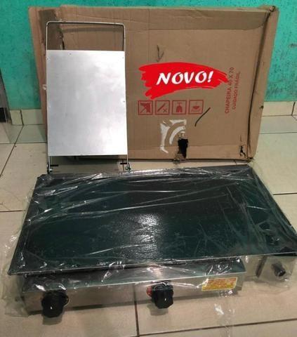Promoção: Chapa a gás Lanche 70x40cm aço indústrial Cachorro quente hambúrguer espetinho - Foto 4