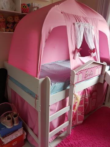 Cama infantil (completa) com escada, escorregador e barraca - Foto 4