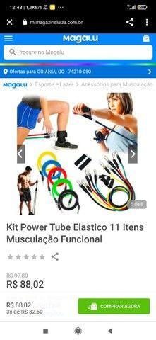 Kit elástico para musculação + tapete musculação + tapete ioga 1.80m - Foto 3