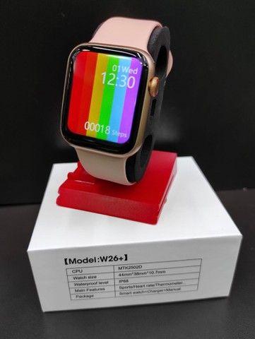 Relógio Inteligente Smartwatch Iwo w26 Plus Original Preto Rosa Top - Foto 4