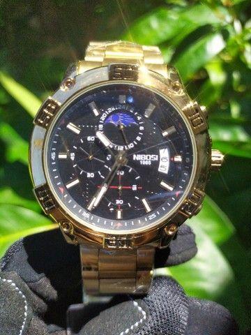 Relógio Masculino NiBOSi Dourado - Foto 5