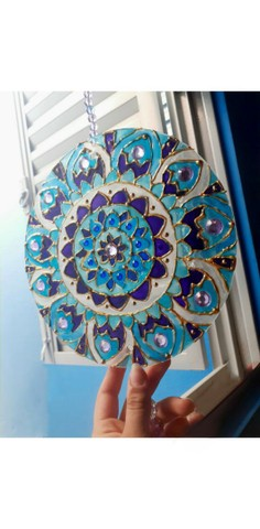 Mandala de vidro 20 cm - Foto 2