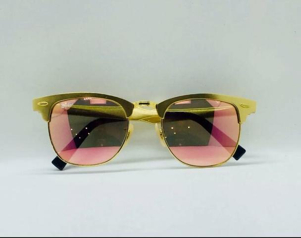 de02a7ab9 Óculos de Sol Ray ban Clubmaster Aluminio Dourado e Rose Novo Frete grátis