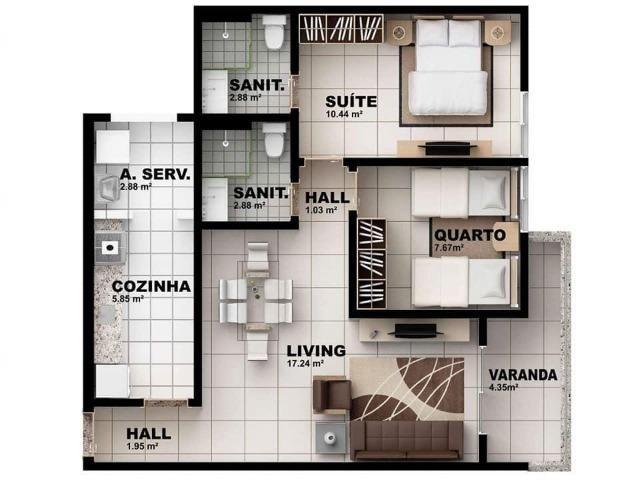 Apartamento de 2/4 uma vagas de garagem - Foto 2
