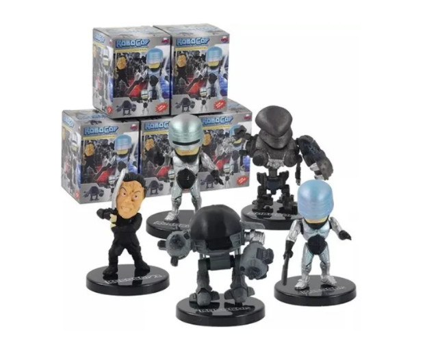 5 Miniatura Bonecos Robocop Ed-209 Murphy Colecionáveis
