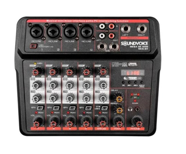 Mesa de som compacta Soundvoice MC6BT