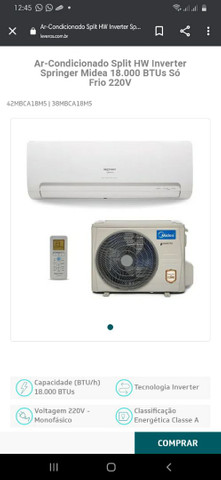 AR-Condicionado Split HW Inverter Springer Midea 12.000 BTUs Só frio 220v