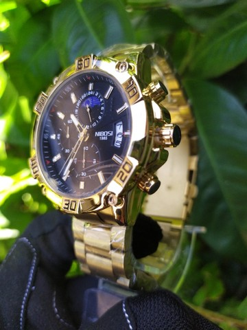 Relógio Masculino NiBOSi Dourado - Foto 2