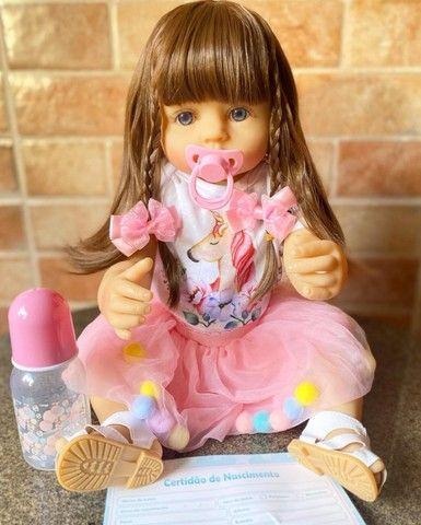 Linda Bebê Reborn Cabelão toda em Silicone realista Nova Original (Aceito Cartão)  - Foto 4