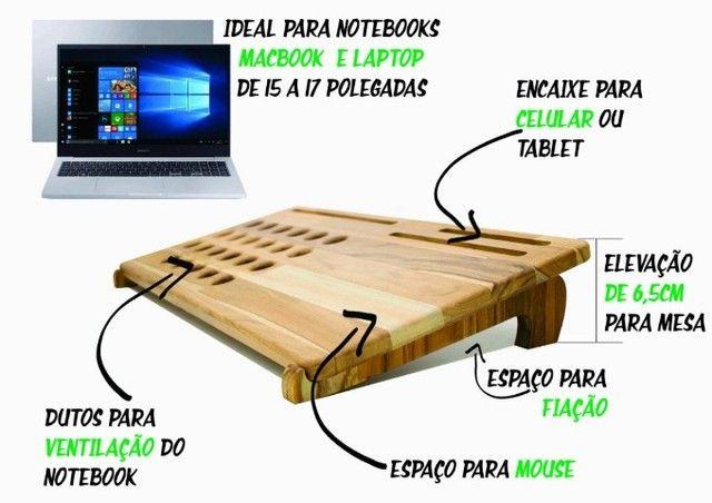 Mesa Suporte Para Notebook com Apoio em Madeira Teca  - Foto 3