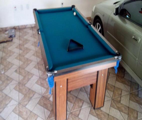Mesa de Caçapa de Rede Cor Imbuia Tecido Azul Mod. KMXH3431 - Foto 2