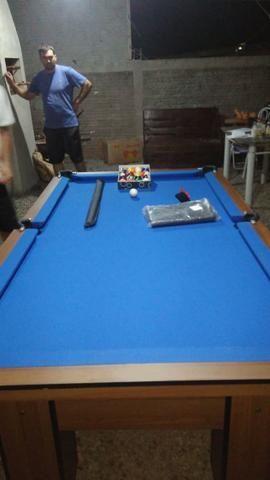 Mesa Residencial Cor Imbuia Tecido Azul Mod. VLQB2886