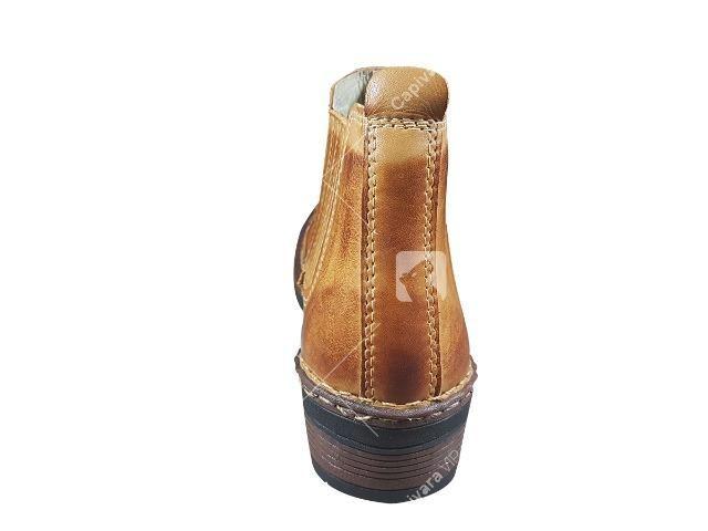 ebc222c3f9 Bota Botina Masculina Couro Nobre Escamado Whisky Cowboy Country ...