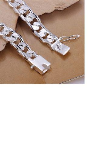 10 Milímetros Homens Pulseira e Corrente 925 de Prata Colares Moda Jóias Acessórios - Foto 6