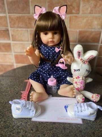 Boneca bebê Reborn toda em Silicone Cabelão realista Nova Original (aceito cartão) - Foto 5