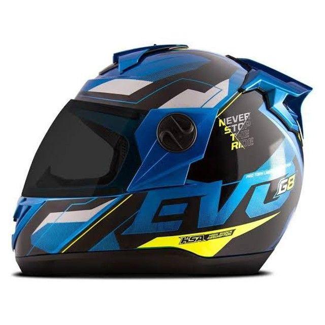 Capacete Evolution G8 Evo Azul / Amarelo - Foto 2