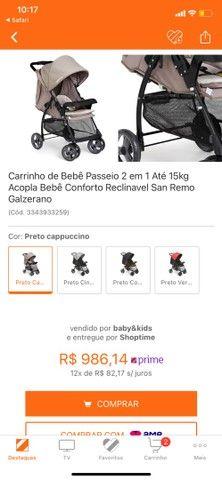 Carrinho de Bebê - 2 em 1 San Remo Galzerano - Foto 6