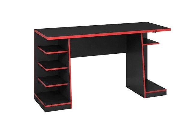 Oferta  Mesa Gamer 5 Nichos Preta/Preto com vermelho  - Foto 4