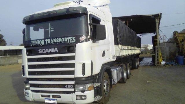 Scania 420 R124 2006 e Carreta Guerra 2001