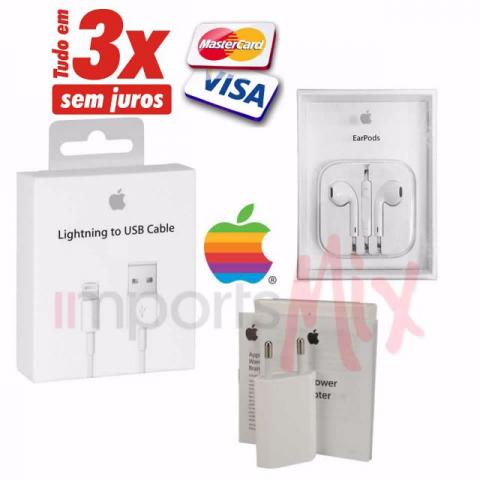 Kit Carregador + Cabo + fone Apple IPhone 6 5s