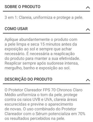 Natura - Protetor Clareador FPS 70 Chronos Médio Escuro - 50ml - Foto 3