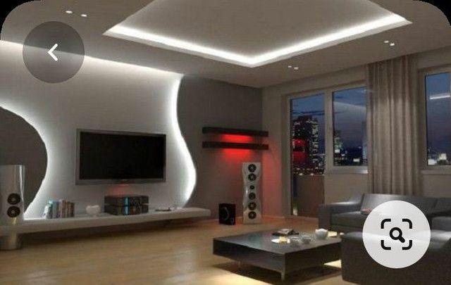 Painel para tv com placas de gesso e parede com placas de gesso 3D.  - Foto 5