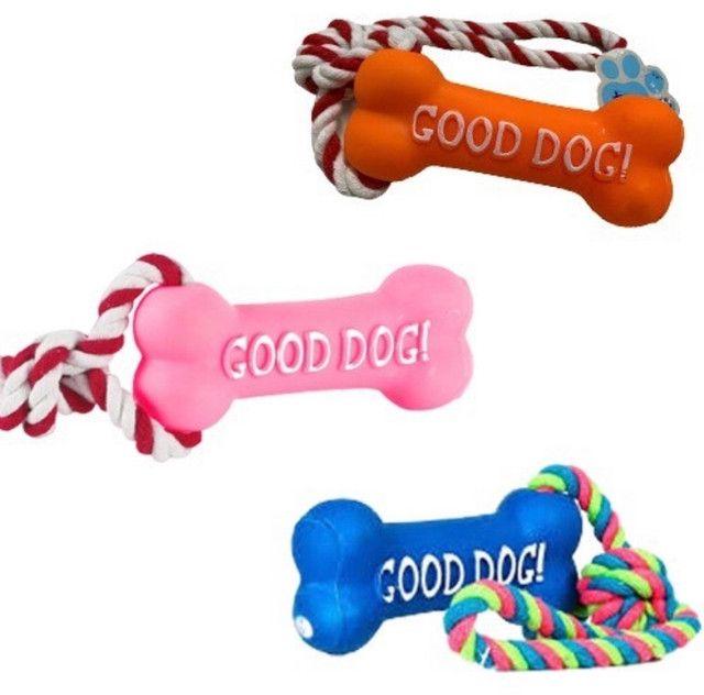 Brinquedo Pet Osso com Corda Borracha Mordedor Interativo