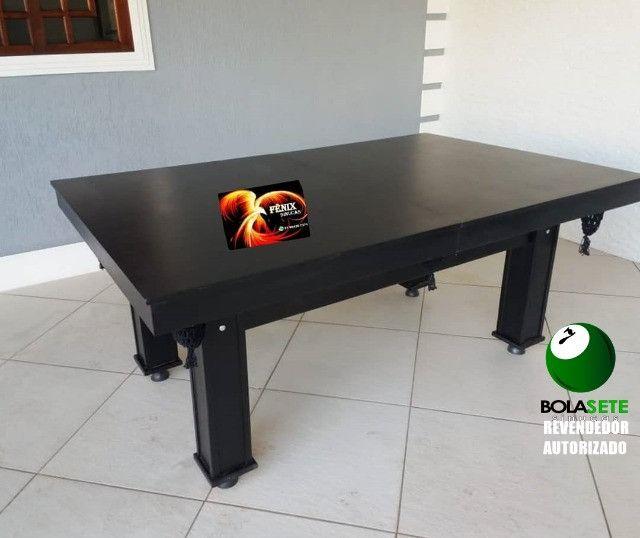 mesa Sinuca Tipo Bilhar Mesa Jantar Ébano - Foto 3