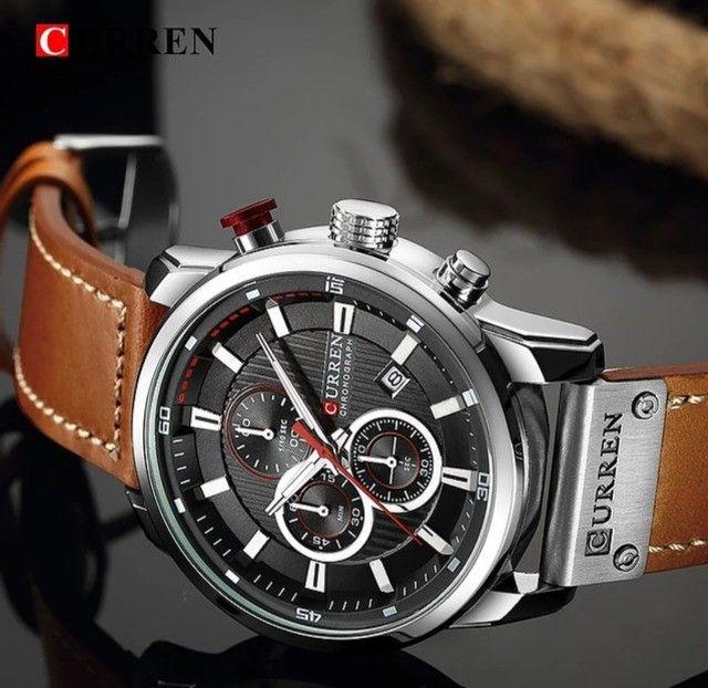 Relógio Curren com cronógrafo, caixa em aço inoxidável e pulseira de couro PU - Foto 5