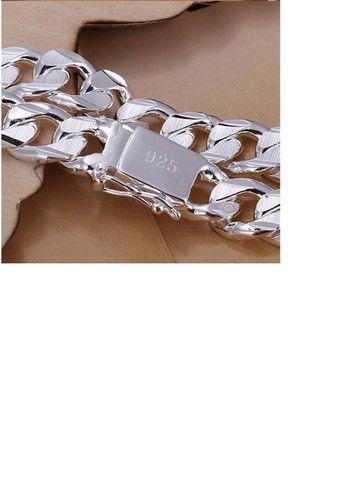 10 Milímetros Homens Pulseira e Corrente 925 de Prata Colares Moda Jóias Acessórios - Foto 5