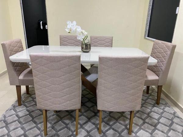 Mesa de Jantar Imperatriz 180cm Canto Copo Off White/Imbuia c/ 6 cadeiras - Foto 3