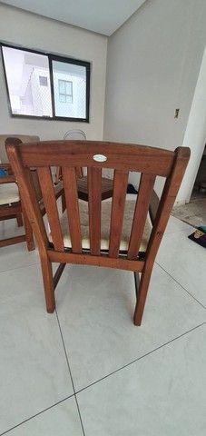 Conjunto Cadeiras e Mesa Madeira Carvalho - Foto 4
