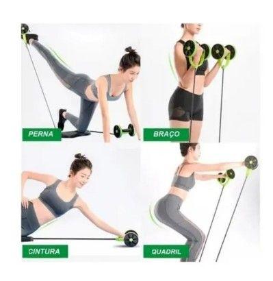 Aparelho para Treino Rodas / Elásticos  40 Exercícios / Musculação Malhar Fitness (A101) - Foto 4