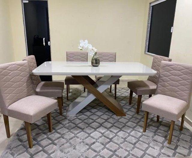 Mesa de Jantar Imperatriz 180cm Canto Copo Off White/Imbuia c/ 6 cadeiras