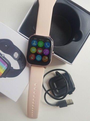 Relógio Smartwatch DT36 Rosa e Cinza - Foto 2