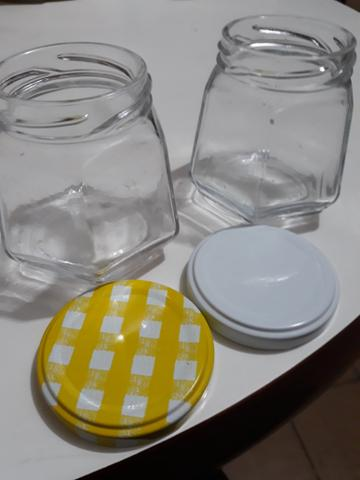 Pote de vidro sextavado