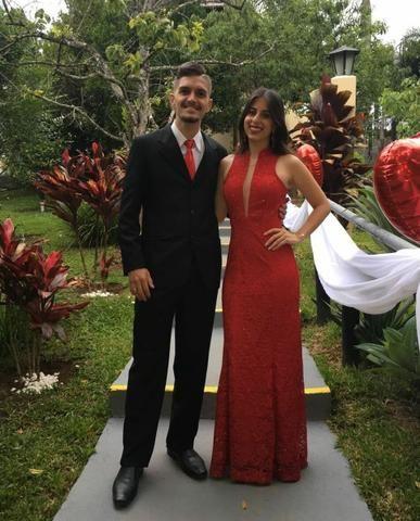 Vestido Renda Festa Madrinha Vermelho Barato