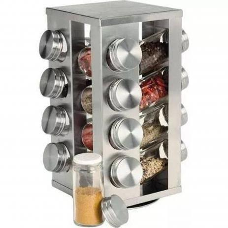 Porta condimentos 16 peças vidro e inox com base giratória  - Foto 3