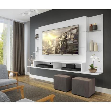 """Painel Nairóbi Plus para TV Até 60"""" Branco Acetinado Texturizado - Multimóveis"""
