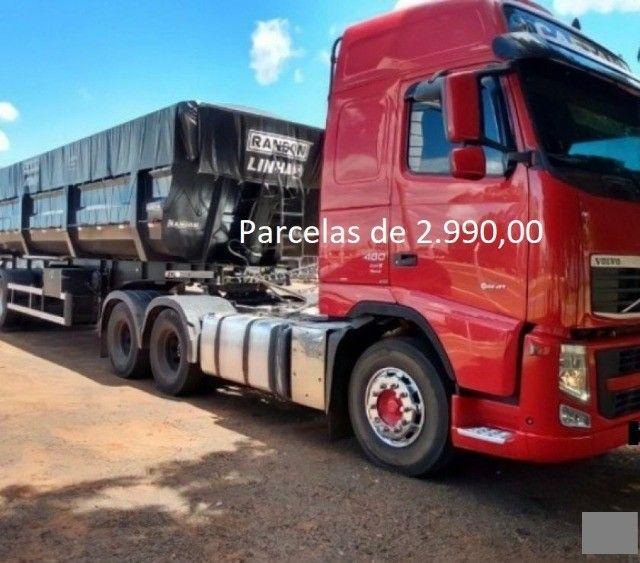 Volvo FH 460 6x2 2015 na Caçamba Rondon Entrada mais Parcelas com Contrato de Serviço.