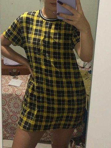 vestido xadrez marisa