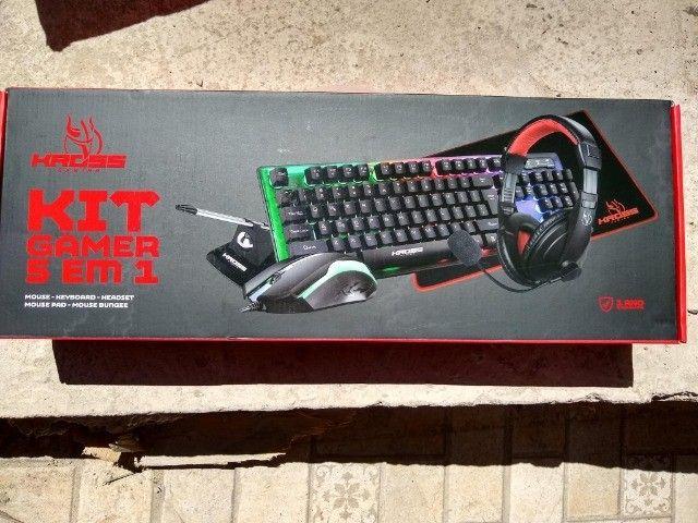 Kit Gamer Kross 5 em 1 Teclado Mouse Headset Mouse Pad e Bungee Novo lacrado garantia - Foto 3