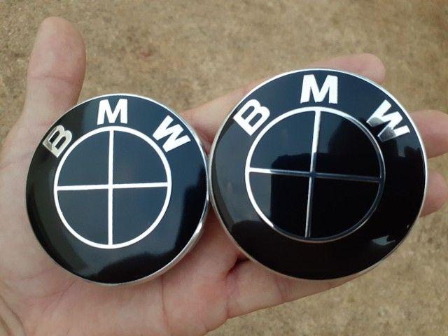 Emblema Tampa da roda BMW preto brilhante black piano