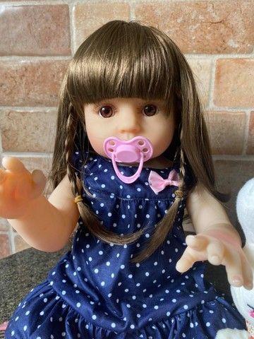 Boneca bebê Reborn toda em Silicone Cabelão realista Nova Original (aceito cartão) - Foto 6