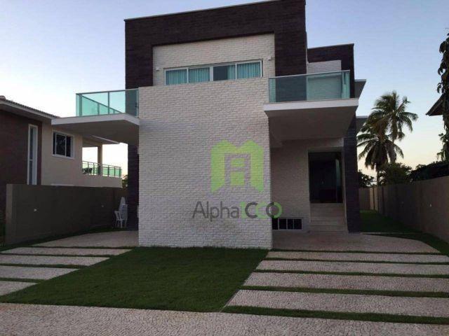 CA0026 - Casa Triplex com 450m², 4 suítes, piscina e sauna, no Alphaville Eusébio