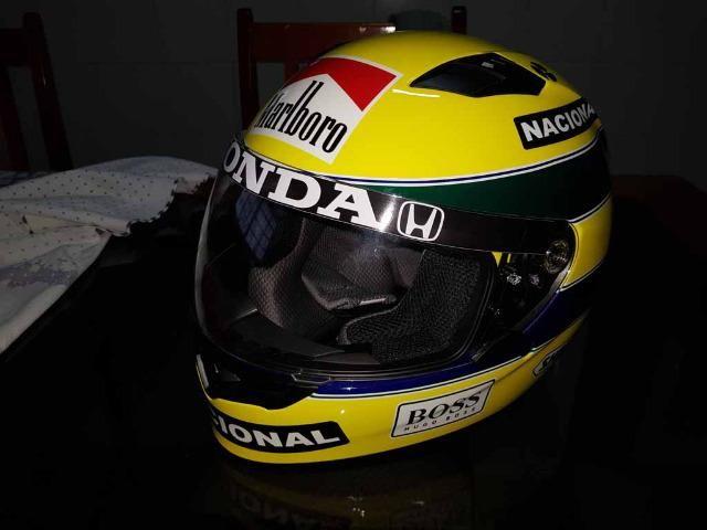 Capacete Personalizado Ayrton Senna - Novo - Sem uso - Na Caixa - Foto 10