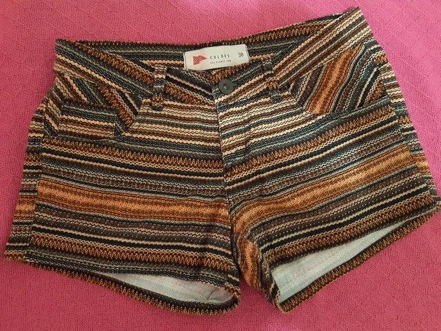 Short jeans com listras étnicas - Foto 2